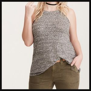 TORRID | Ribbed knit high neck grey tank top